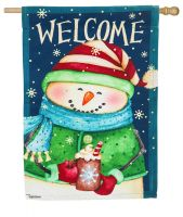 Snow Country House Large Garden Flag