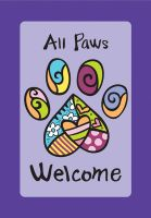 All Paws Welcome Decorative Flag