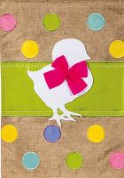 Easter Chick Burlap Decorative Flag