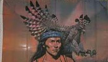 Indian Chief with Eagle Flag