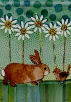 Bunny and Bird Making Friends Garden Flag