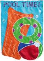 Pool Time Applique Garden Flag