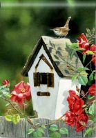 Rose Cottage Wren Decorative Standard Size Flag