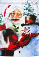 Santa and Frosty garden flag
