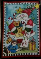 Santa with Bear Garden Flag