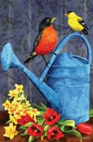 Watering Can Robin Garden Flag