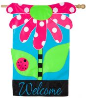 Welcome Daisy Applique Flag